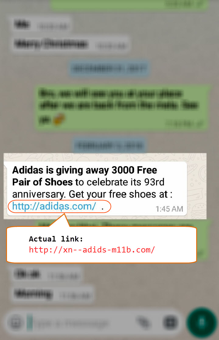 WhatsApp Scam Adidas